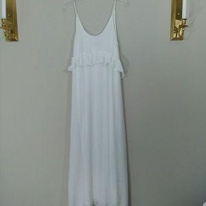 Zara Gauzy White Maxi Dress Size M